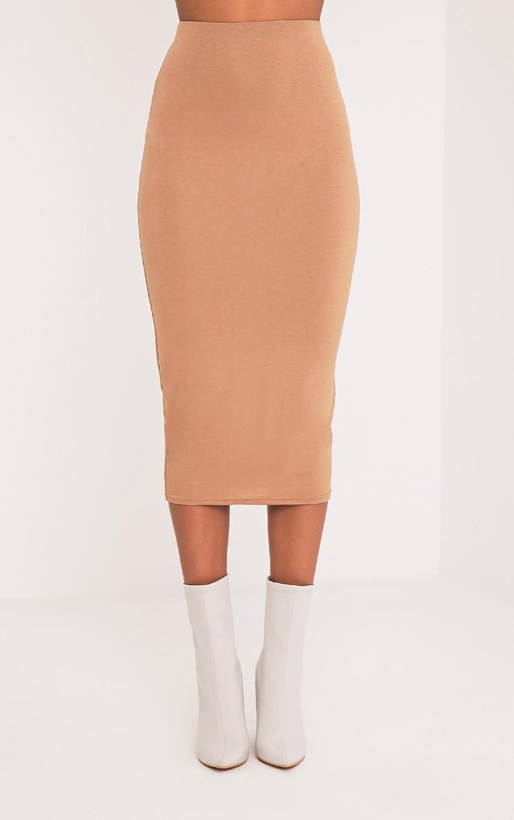 Basic Camel Longline Midi Skirt 5