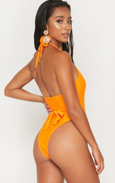 Petite Orange Lion Belted Swimsuit