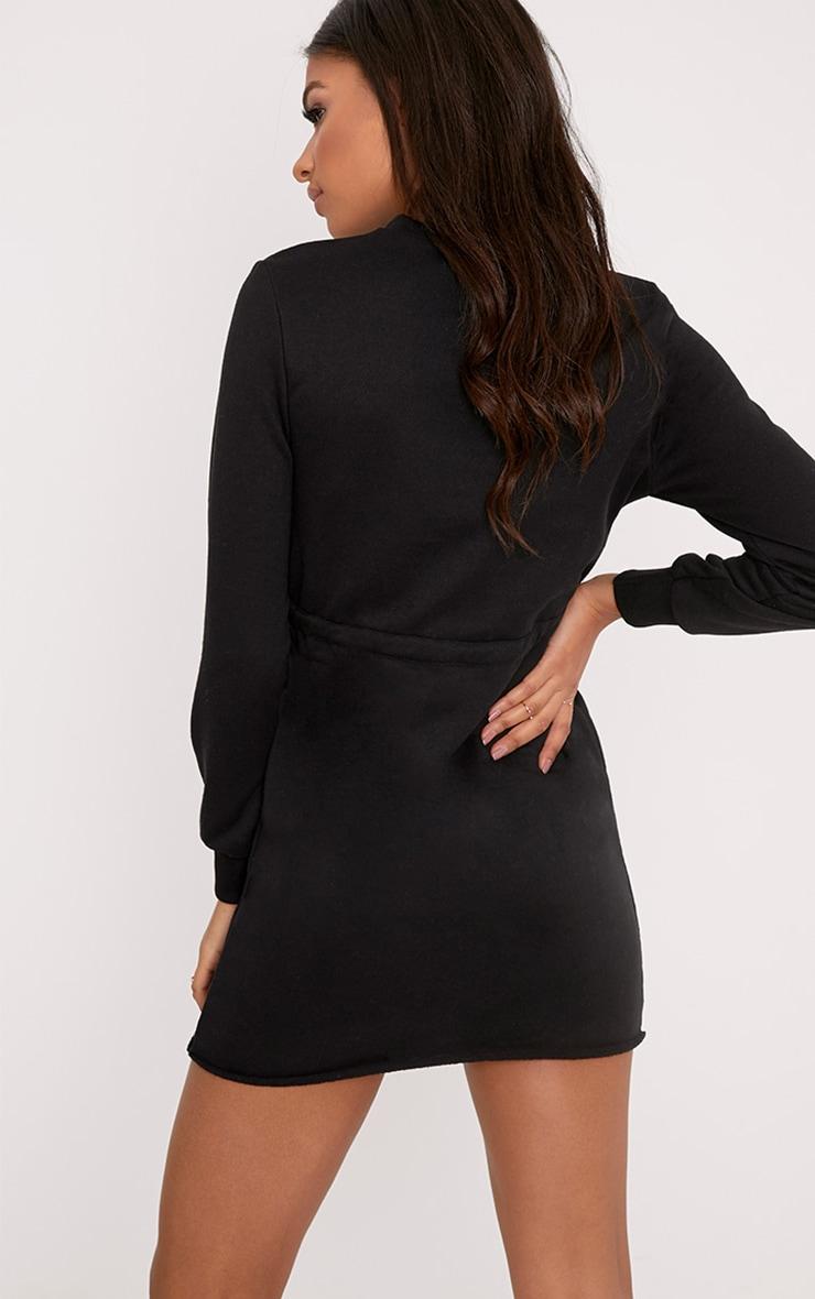 Suzanne robe sweat noire nouée à la taille 2