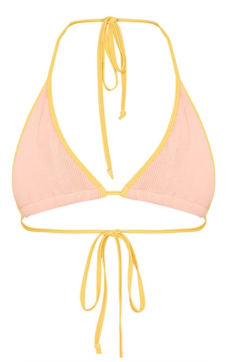 Pink Contrast Binding Crinkle Triangle Bikini Top 5