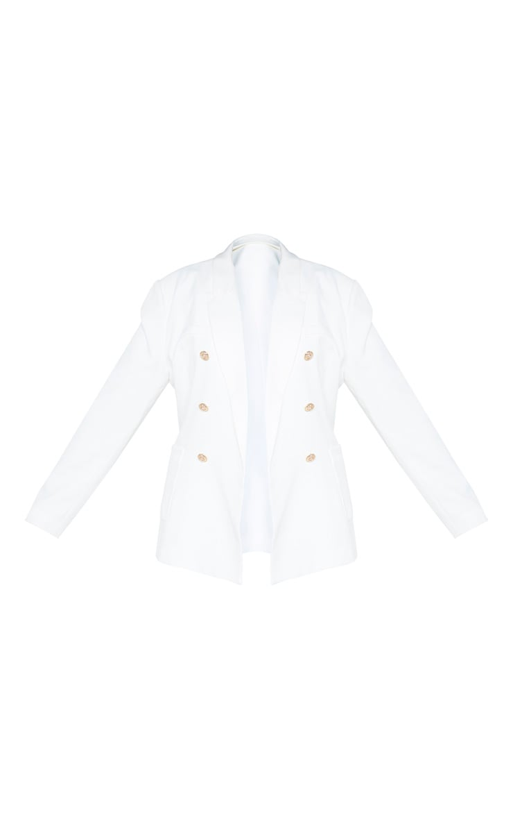 Plus Cream Double Breasted Military Style Woven Blazer 3