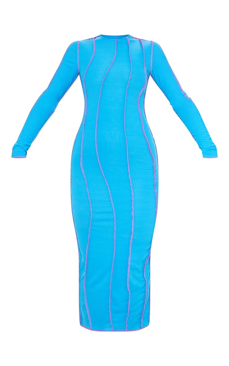 Bright Blue Rib Asymmetric Seam Detail Long Sleeve Midi Dress 5