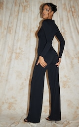 Recycled Tall Black Contour Jersey Under Bust Wide Leg Jumpsuit 2