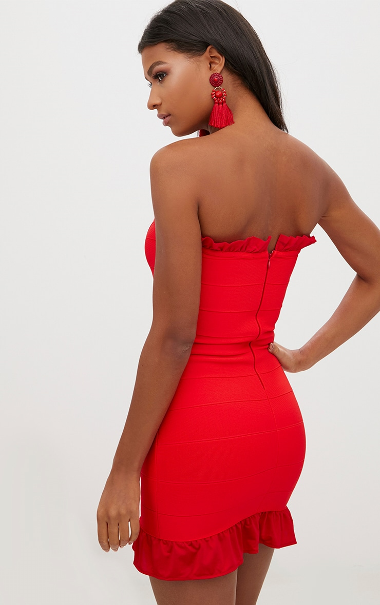 Red Bandage Frill Detail Bandeau Bodycon Dress 2