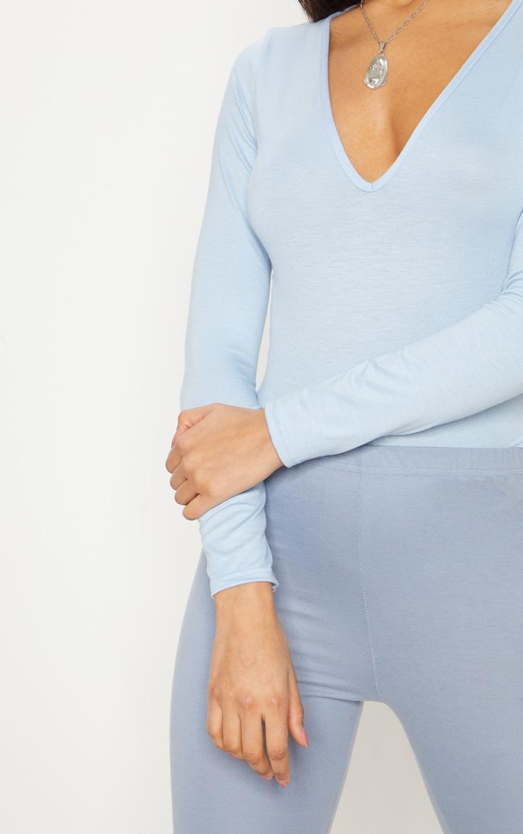 Basic Baby Blue V Neck Long Sleeve Bodysuit 6