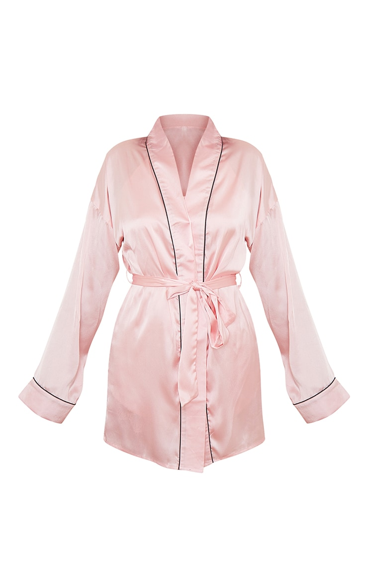 Pink Mix And Match Piped Detail Satin Robe 5