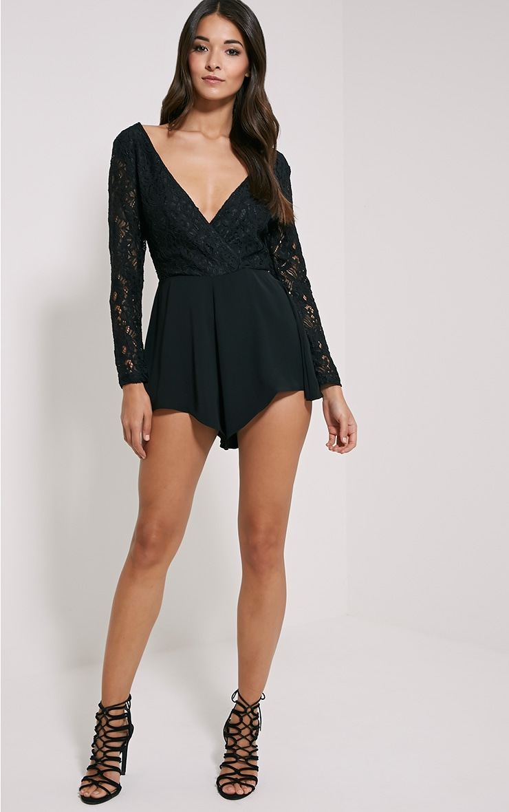 Angelica Black Lace Up Back Playsuit 3