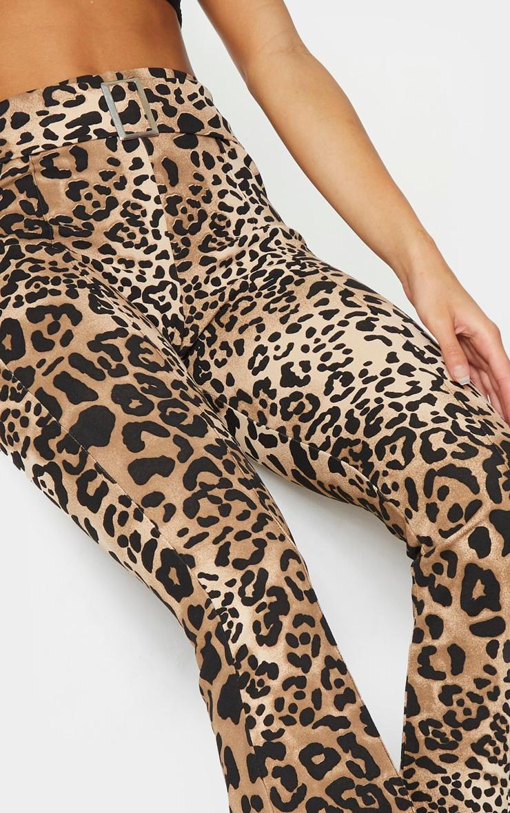 Leopard Print Scuba Pintuck Buckle Flared Pants 4