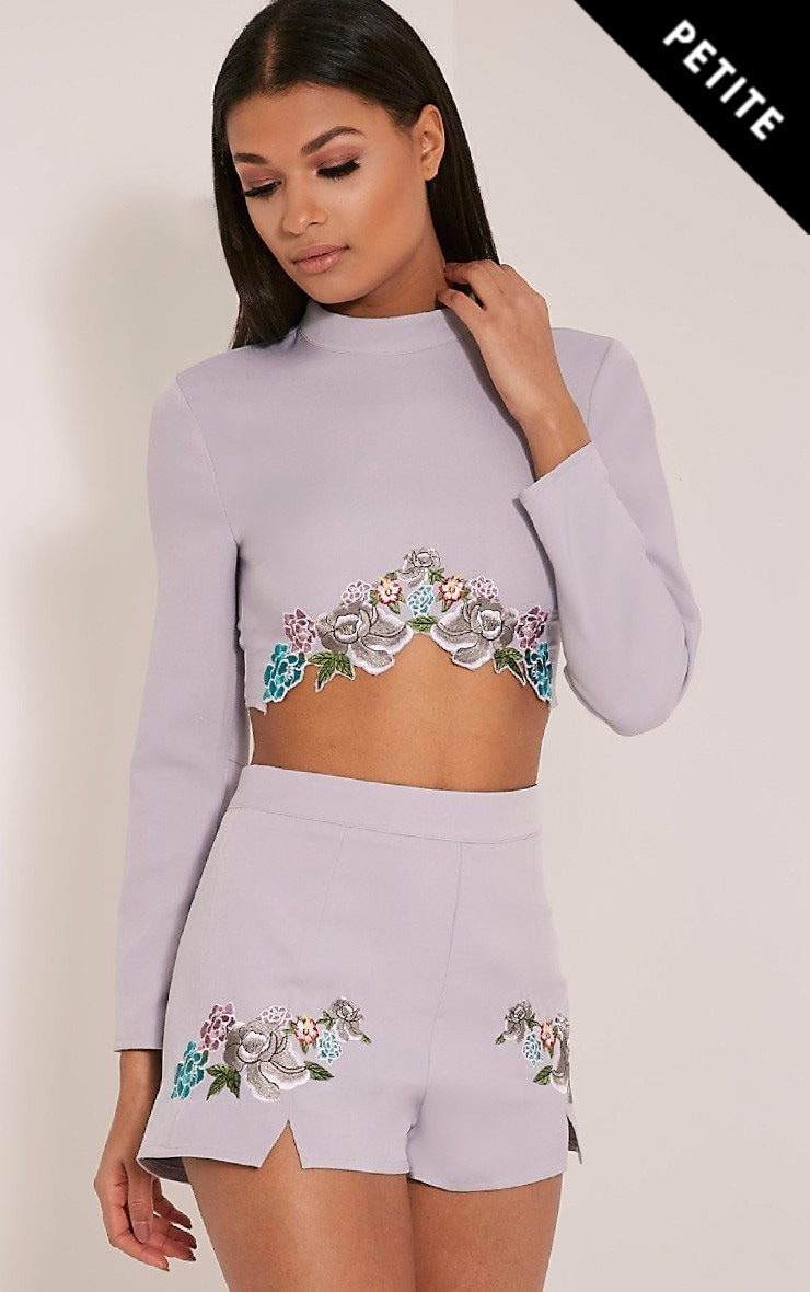 Angie Petite Grey Floral Embroidered Crop Top 1