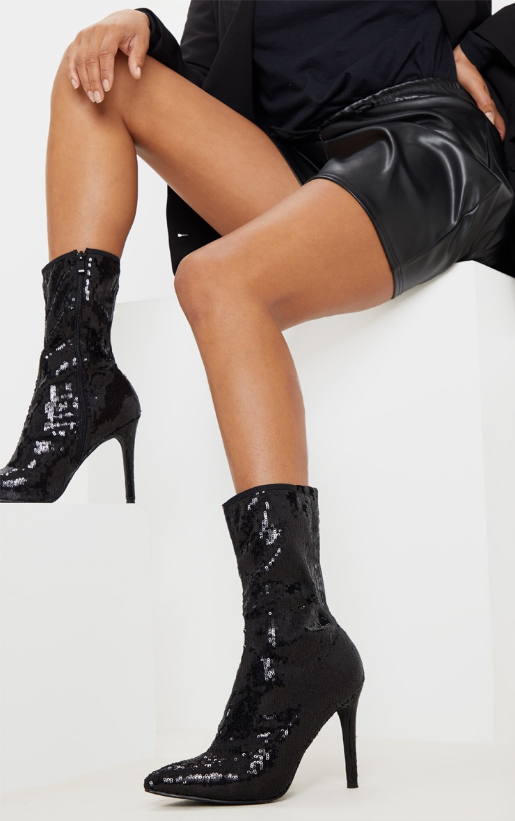 Black Sequin Point Toe Ankle Boot 1