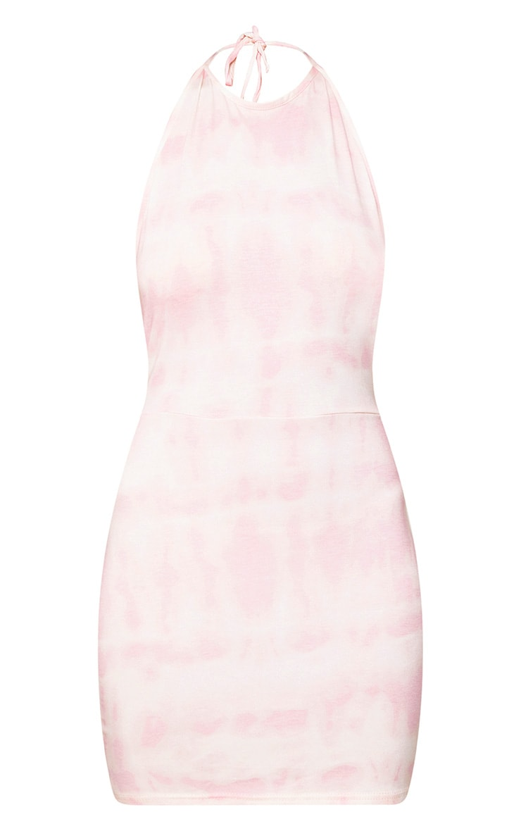 Pink Tie Dye Strappy Halterneck Bodycon Dress 3
