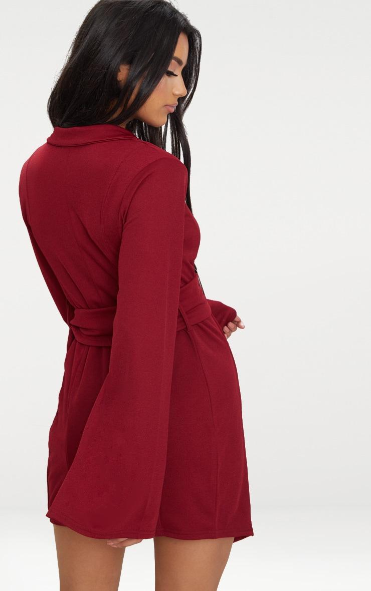 Burgundy Flared Sleeve Belt Detail Blazer  2