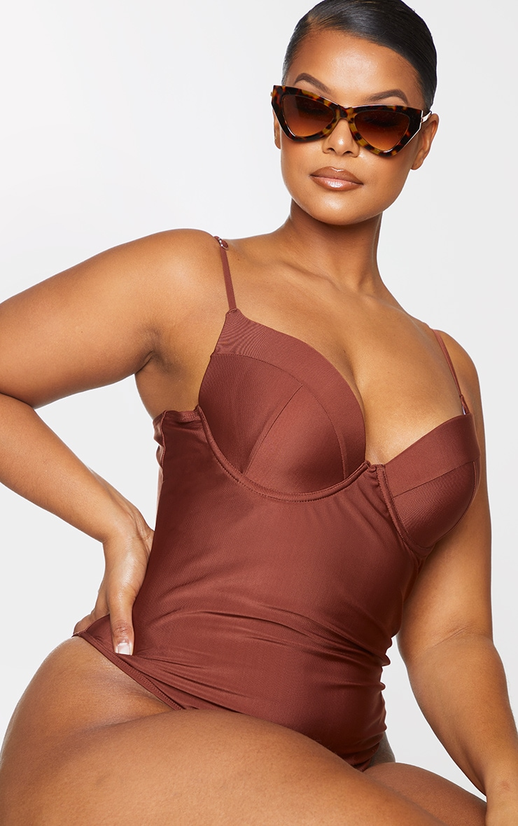 Plus Chocolate Brown Cup Detail Swimsuit 4