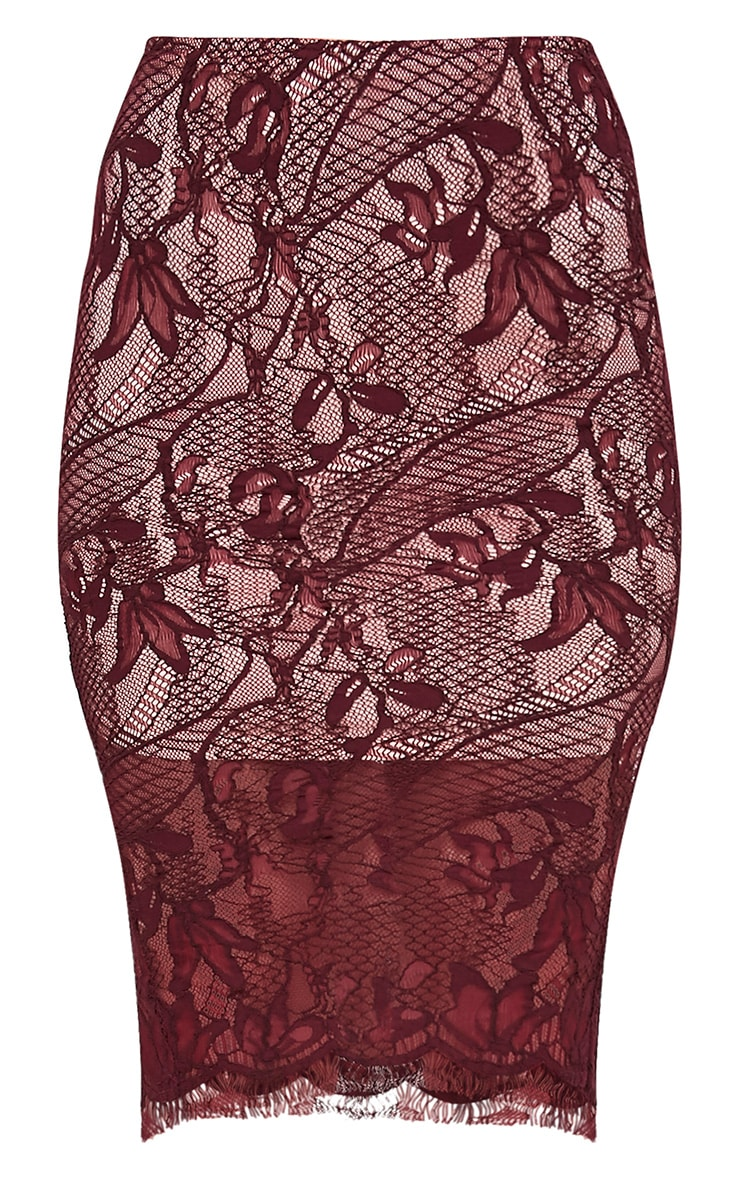 Leela Burgundy Lace Midi Skirt 3