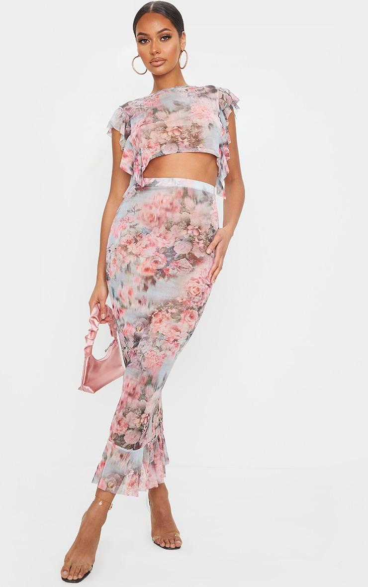 Pink Floral Print Mesh Peplum Hem Midaxi Skirt 1