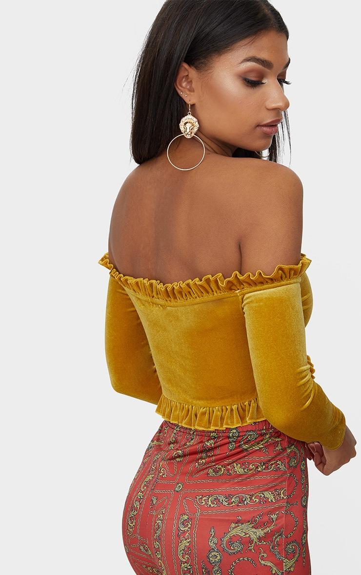 Mustard Velvet Frill Edge V Bar Bardot Crop Top 2