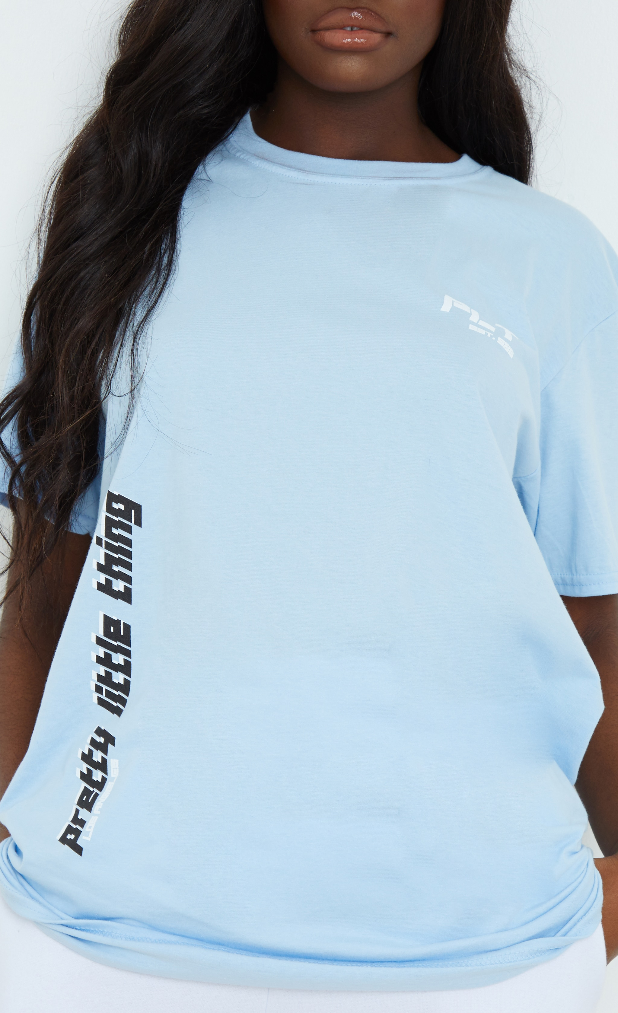 PRETTYLITTLETHING Blue Double Print T Shirt 4