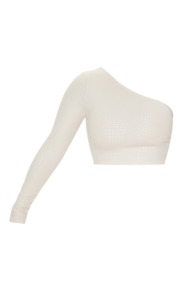 Nude Crepe Textured One Shoulder Long Sleeve Crop Top 3