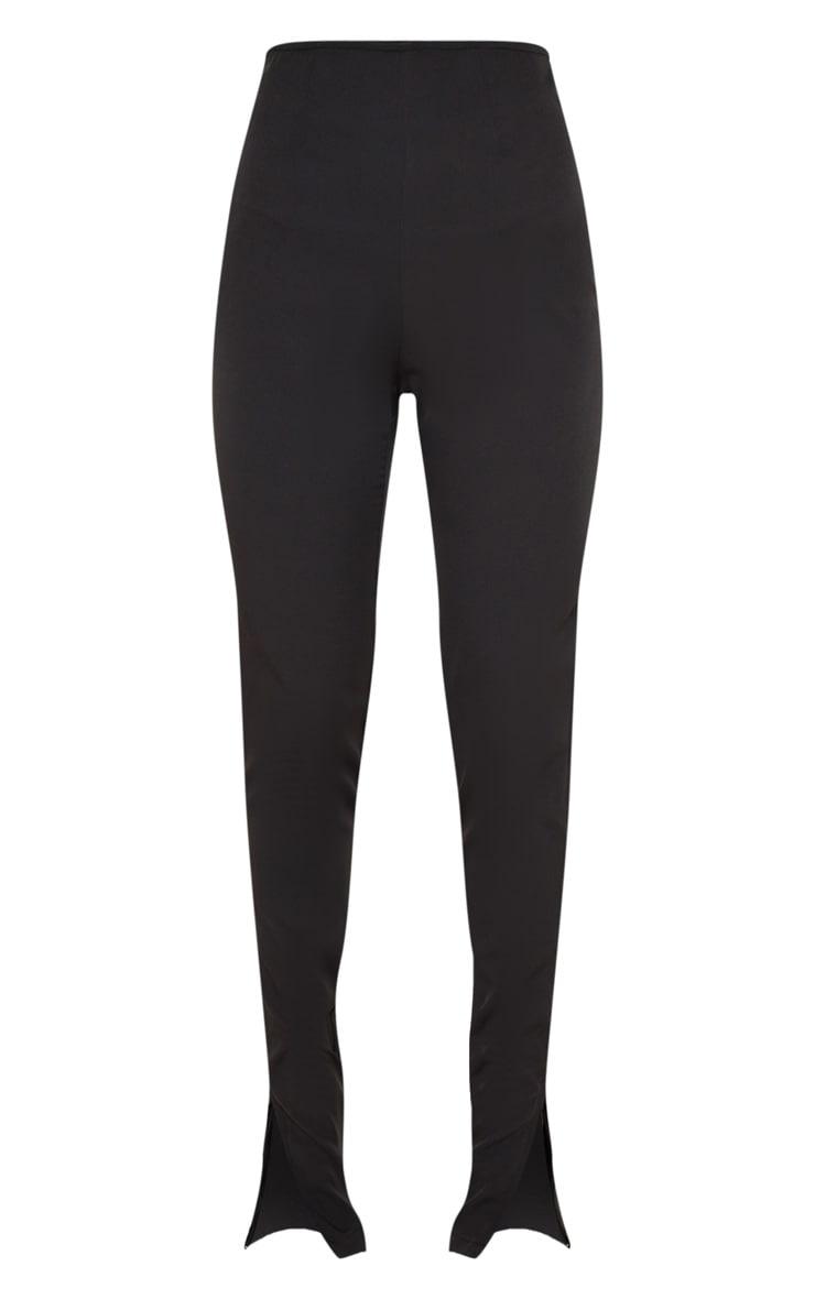 Black Woven High Waisted Split Hem Skinny Pants 4