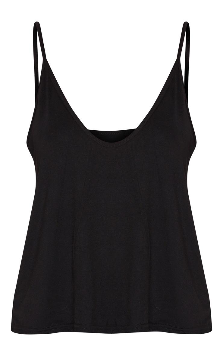 Basic Black Jersey V Neck Swing Vest 3