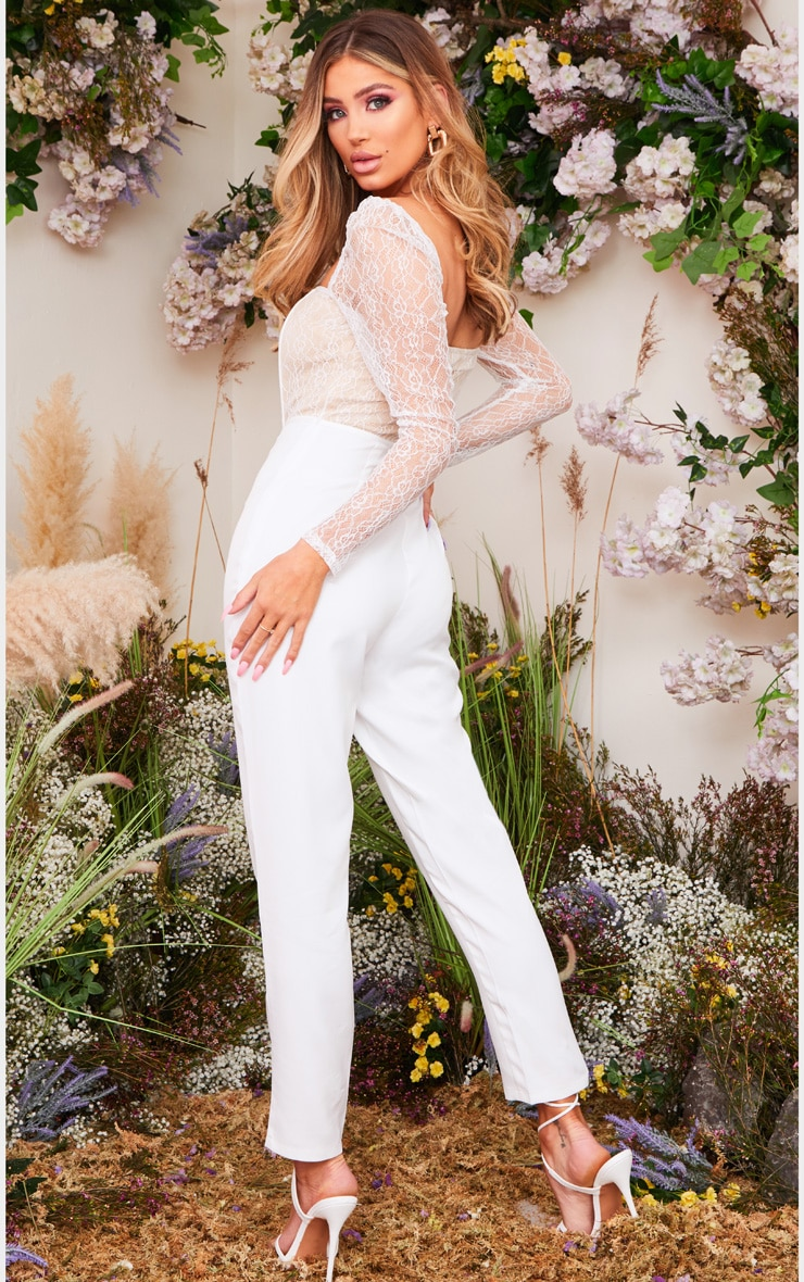 White Lace Up Lace Bodice Jumpsuit 2