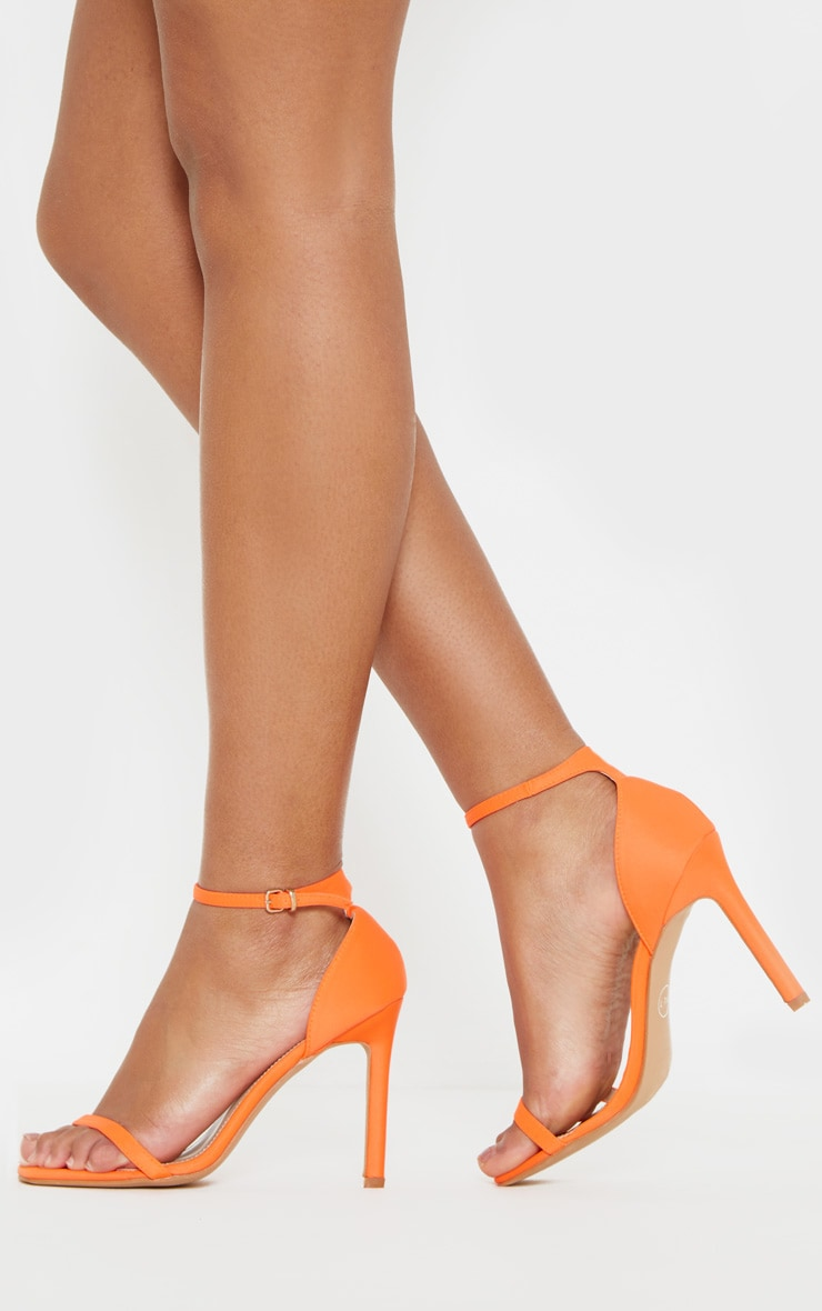 Neon Orange Thin Strap Square Toe Strappy Sandal 2