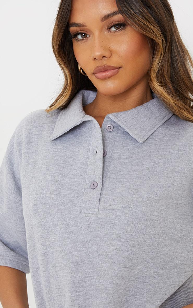 Grey Button Front Short Sleeve Crop Polo Shirt 4