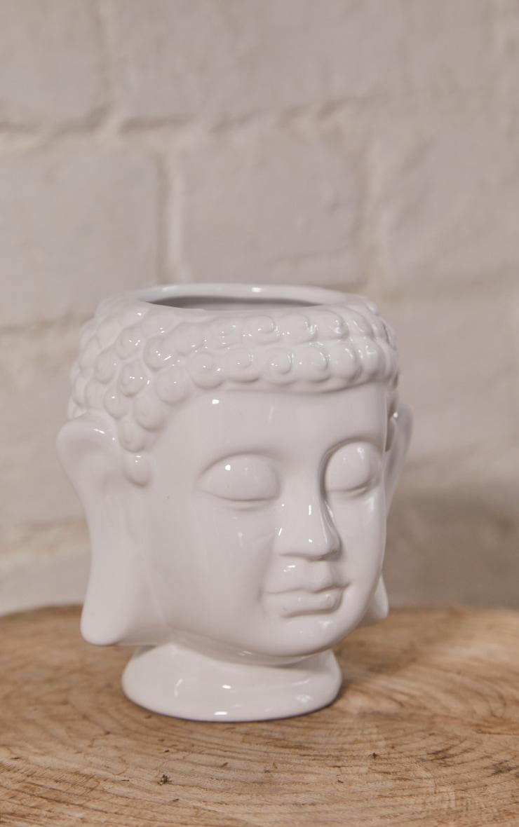 White Ceramic Buddha Head Planter 3