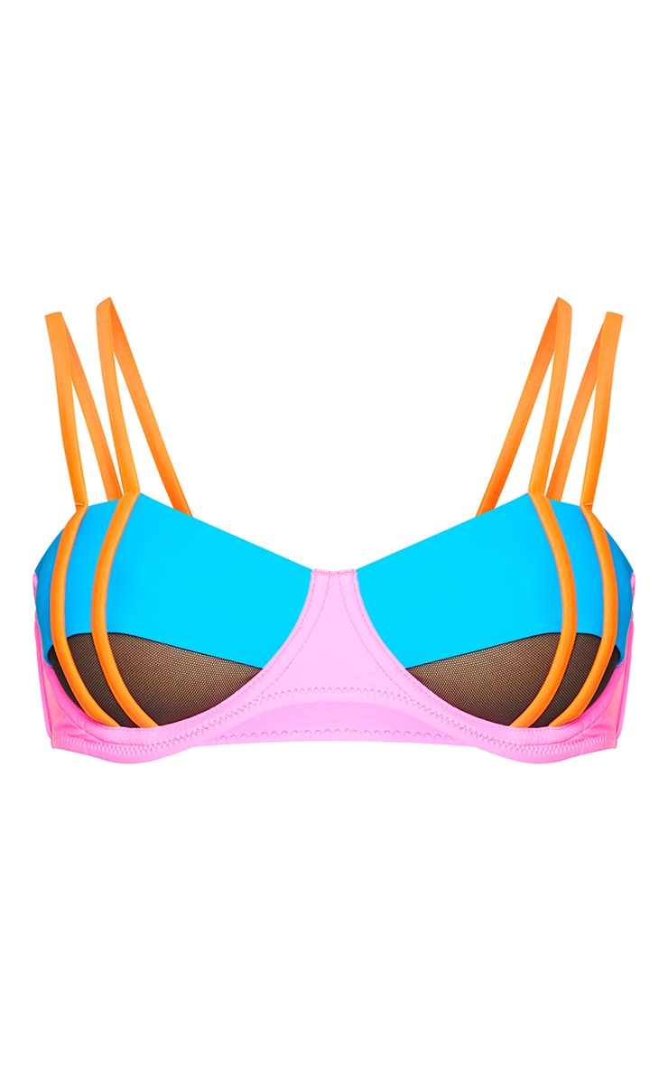 Pink Underwired Mesh Cut Out Bikini Top 5