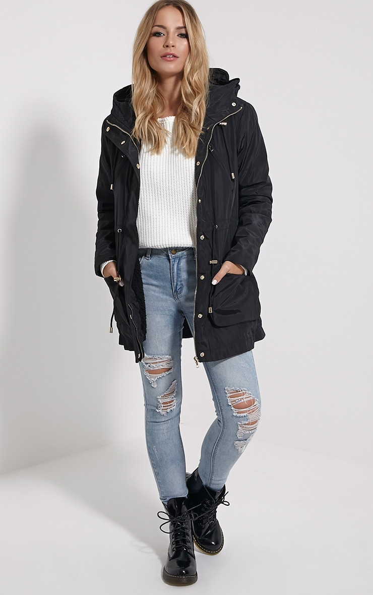 Safi Black Hooded Coat 3