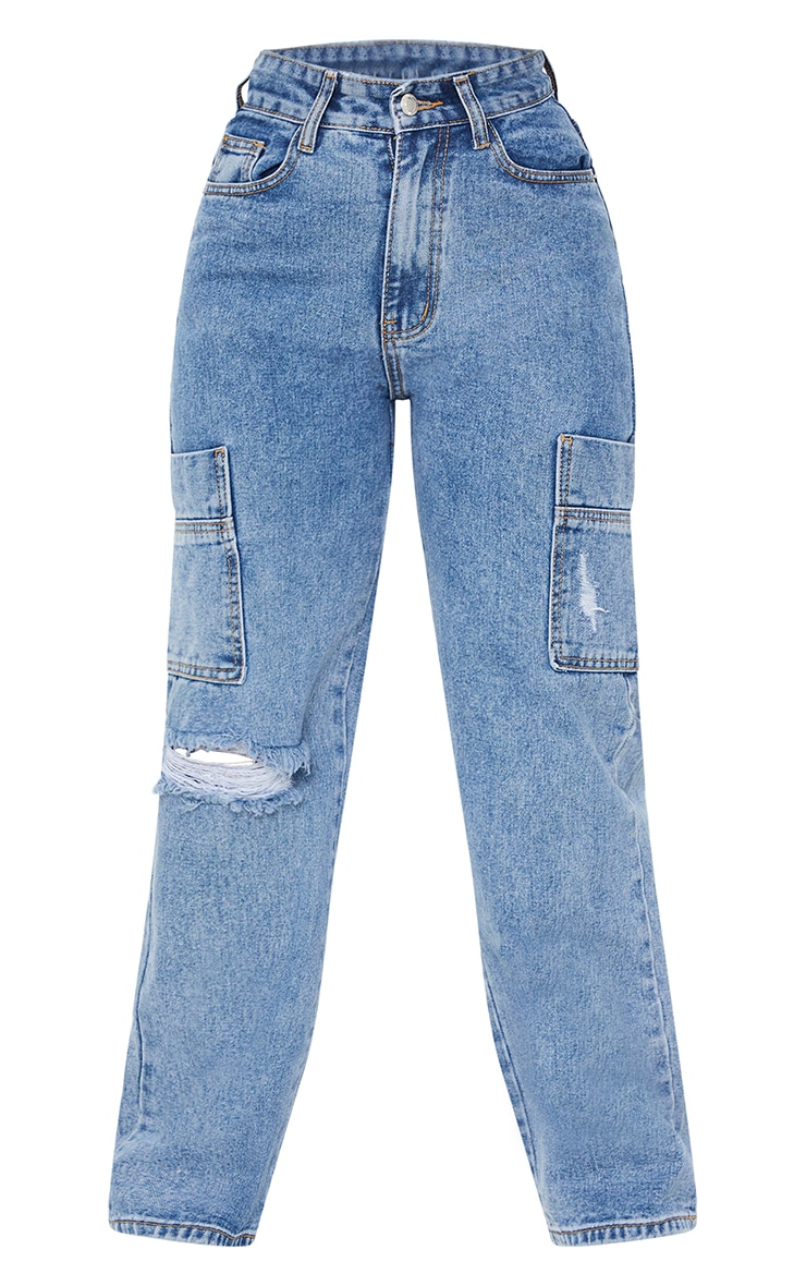 Petite Mid Blue Wide Leg Distressed Cargo Jeans 5