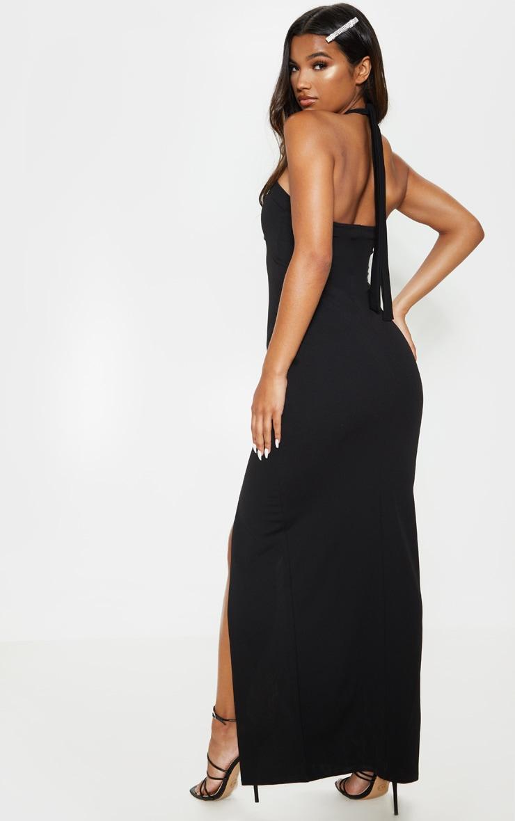 Robe longue noire dos-nu fendue 2