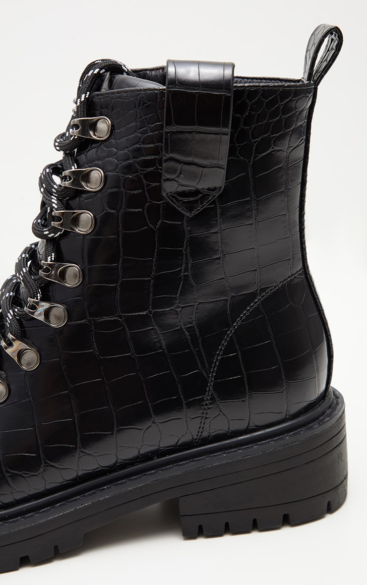 Black Croc Hiker Boot 4