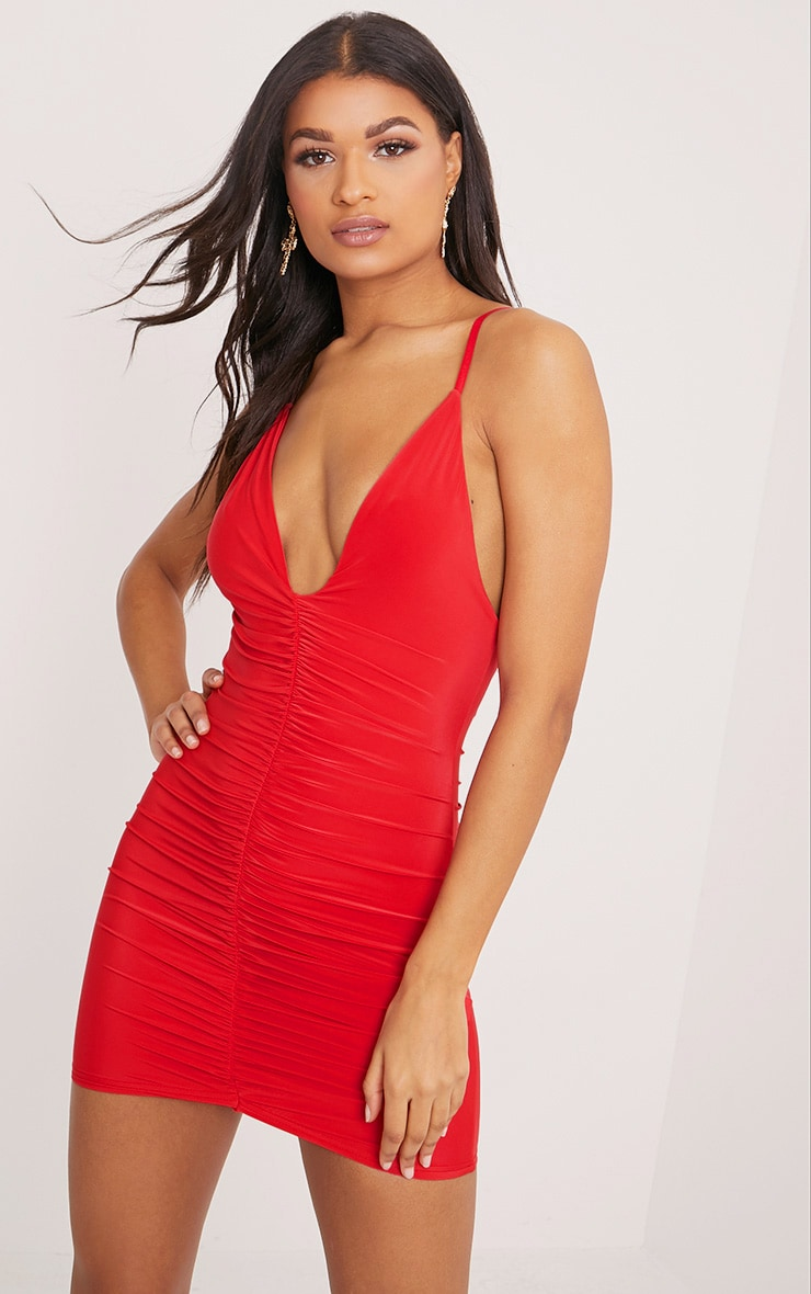 Evangeline Red Slinky Ruched Plunge Bodycon Dress