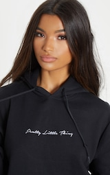 PRETTYLITTLETHING Black Embroidered Oversized Hoodie 5