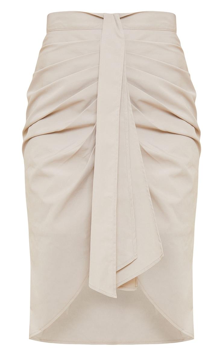 Ice Grey Foldover Button Through Midi Skirt 5