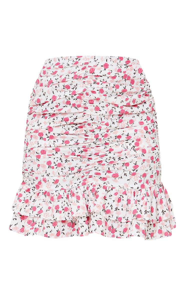 Pink Botanical Floral Ruched Mini Skirt 6