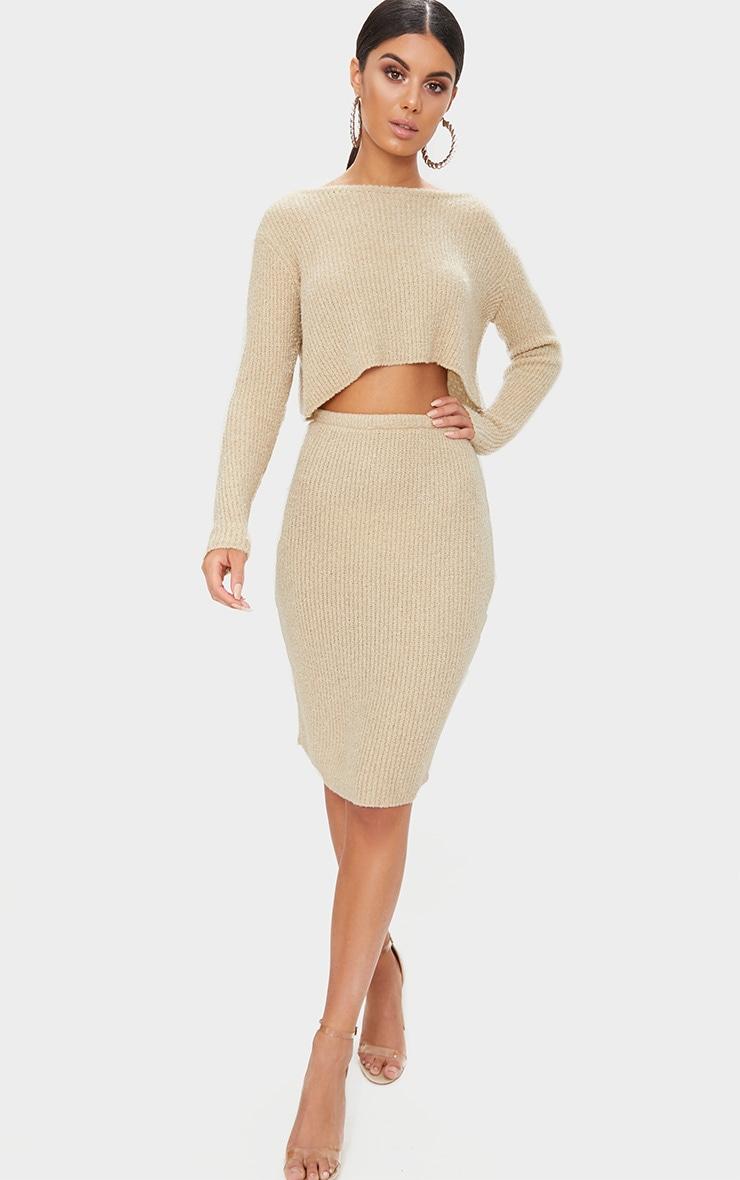 Stone Boucle Knit Skirt