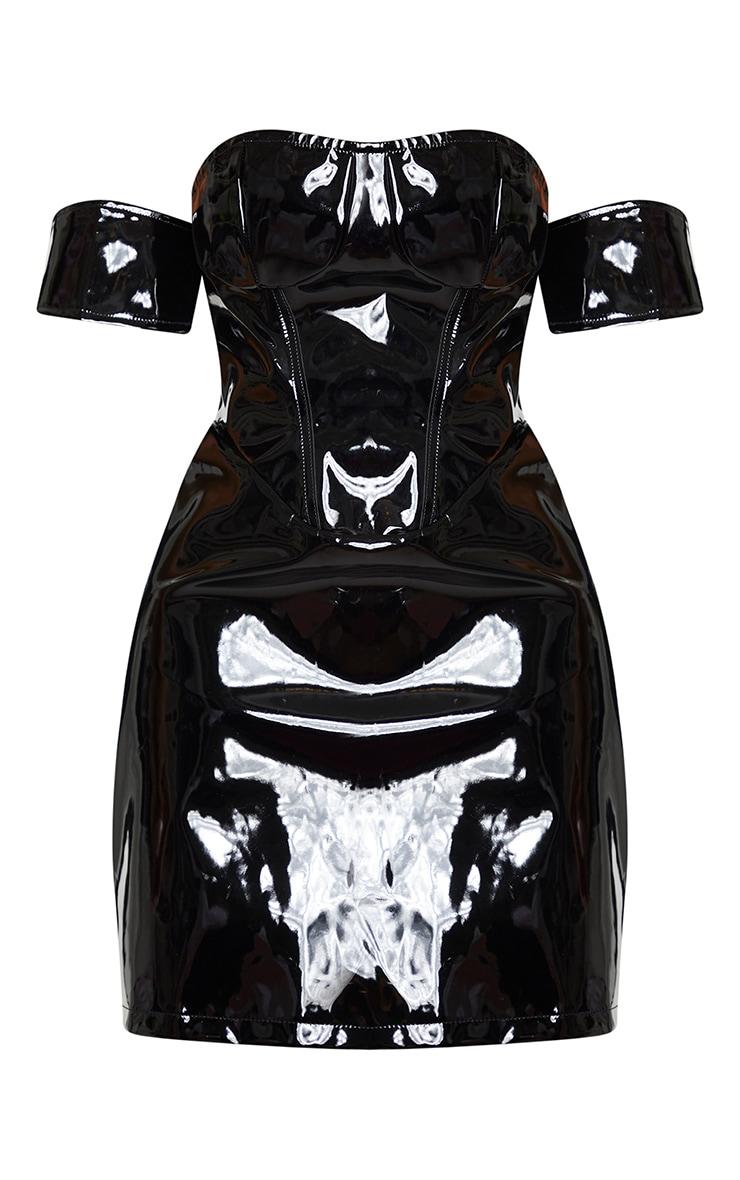 Shape Black Vinyl Off The Shoulder Corset Detail Bodycon Dress 5