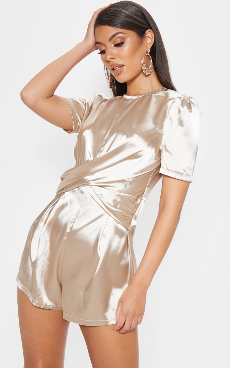 Champagne Satin Twist Detail Short Sleeve Playsuit 1