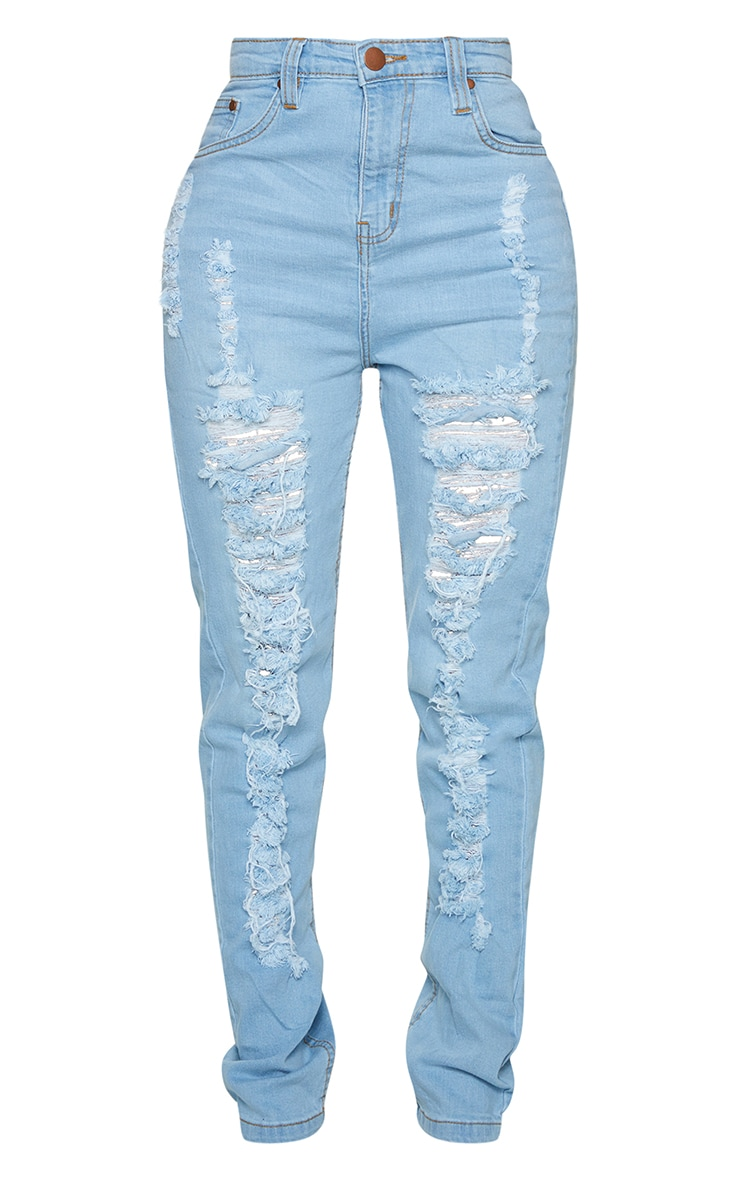 Shape Light Wash Extreme Rip Skinny Jeans 5