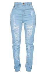 Shape Light Wash Extreme Rip Skinny Jeans 5