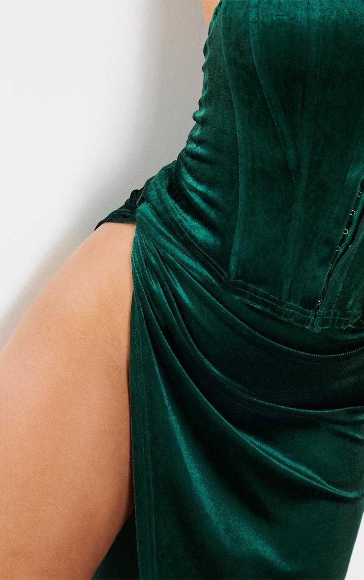 Teal Velvet Tie Split Side Midi Skirt 4