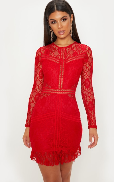 Red Lace Ladder Detail Frill Hem Bodycon Dress