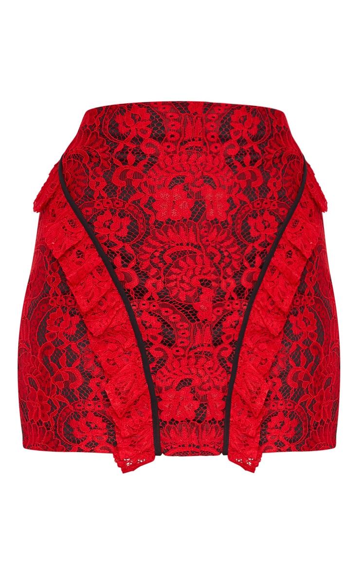 Red  Lace Binding Detail Mini Skirt  3