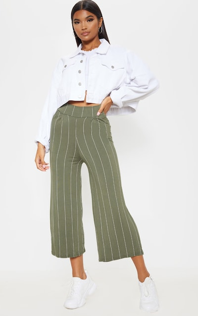 Khaki Stripe Basic Culotte