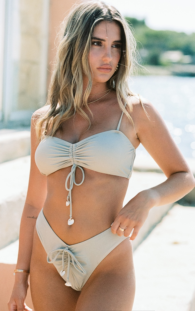 Sand Ruched Front Shell Trim Bikini Bottoms