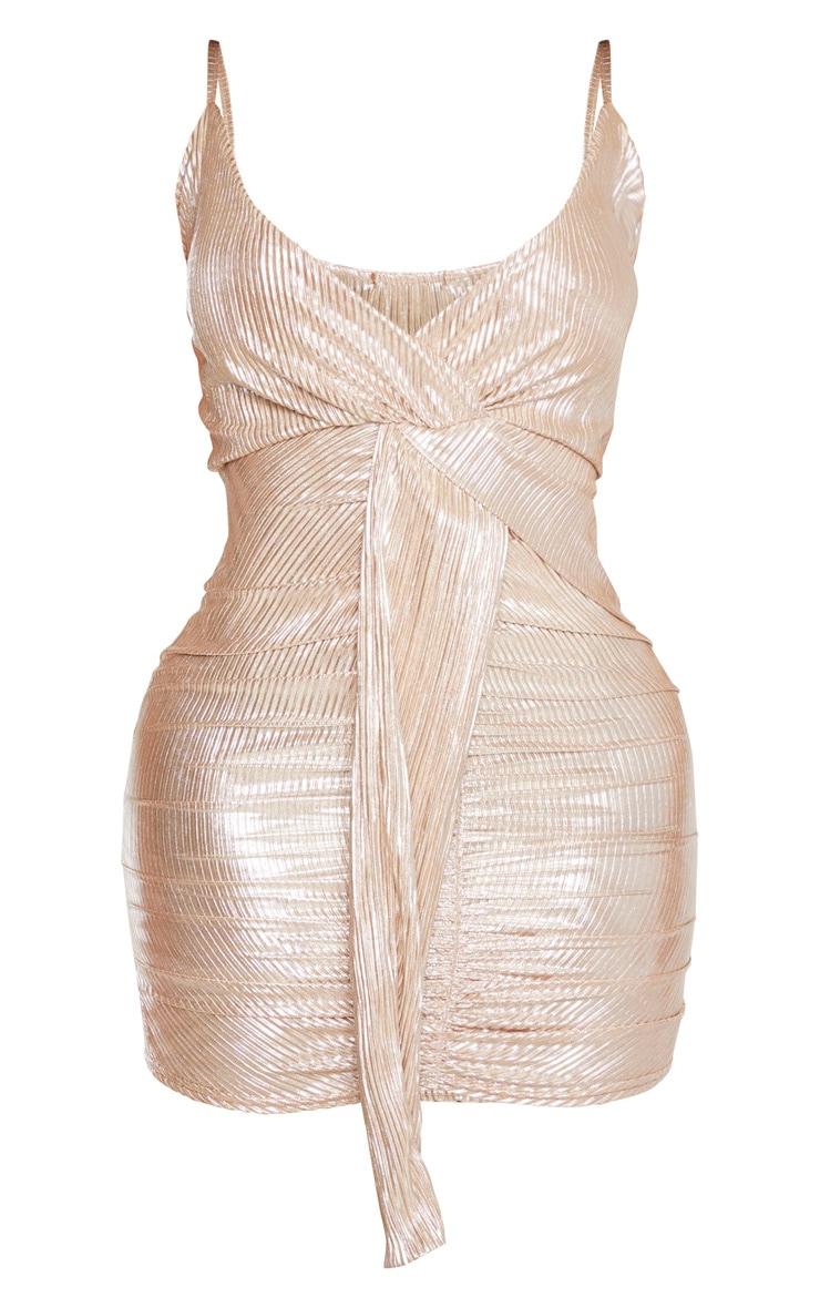 Shape Gold Plisse Drape Dress 3