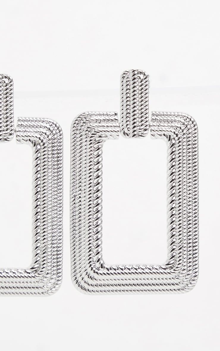 Silver Oversized Textured Rectangle Door Knocker Earrings 2