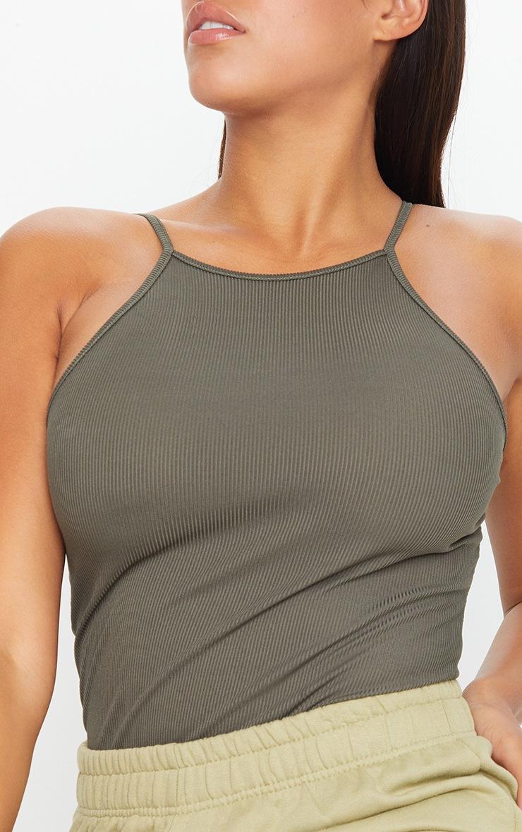 Shape Khaki Rib High Neck Basic Bodysuit 4